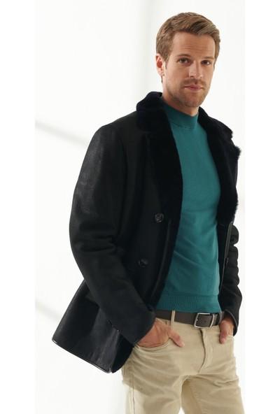 Black Noble Jeff Erkek Klasik Lacivert Kürklü Deri Kaban