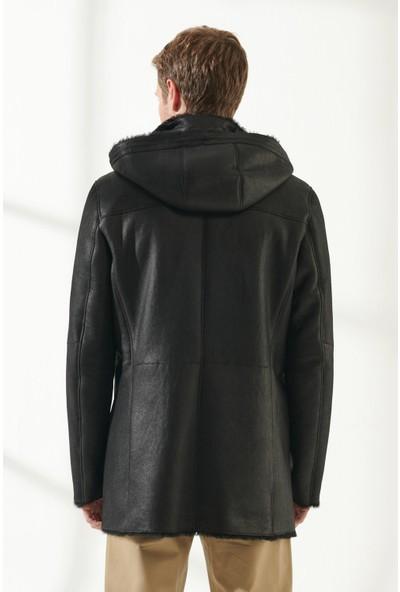 Black Noble Jason Erkek Klasik Desenli Siyah Kürklü Deri Kaban
