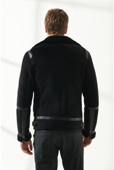 Black Noble Agusto Erkek Spor Siyah Kürklü Deri Ceket