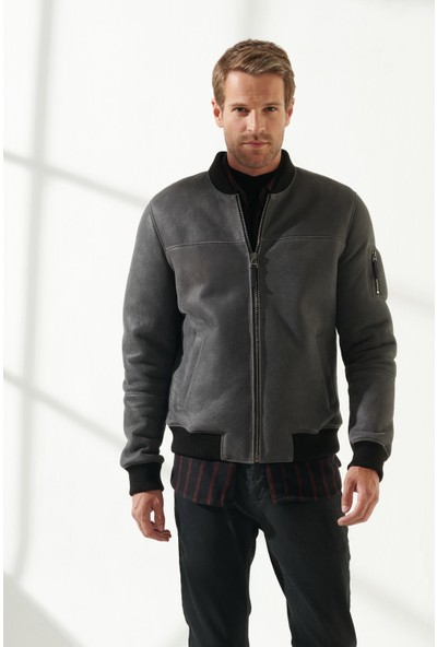 Black Noble Mark Erkek Spor Gri Kürklü Deri Ceket