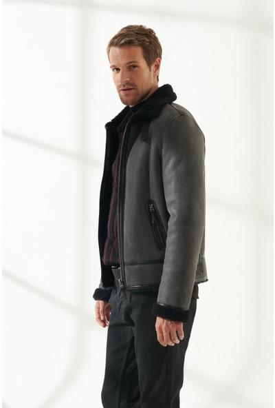 Black Noble Robert Erkek Pilot Gri Kürklü Deri Ceket