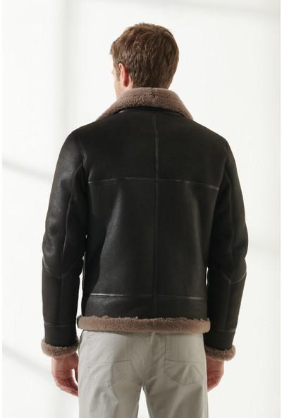 Black Noble Pronto Erkek Pilot Kahve Kürklü Deri Ceket