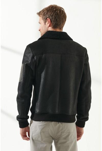 Black Noble Steven Erkek Spor Siyah Kürklü Deri Ceket