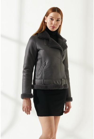 Black Noble Rachel Kadın Spor Gri Kürklü Deri Ceket
