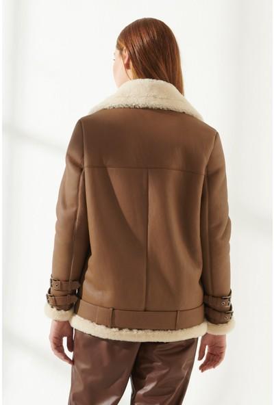 Black Noble Ariana Kadın Oversize Taba Kürklü Deri Ceket