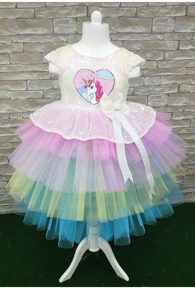 Mixie Baby Unicorn Kız Çocuk Özel Gün Doğum Günü Elbise Abiye Elbise