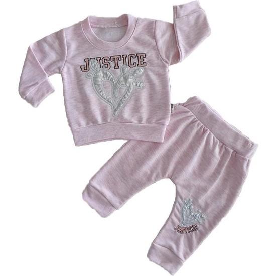 Minidoll Kız Bebek 6-18 Ay Kalpli Pijama Takımı Pembe