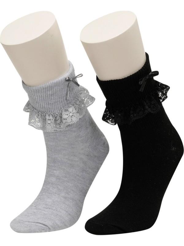 I Cool Show Skt-G Siyah Kız Çocuk 2'li Soket Çorap