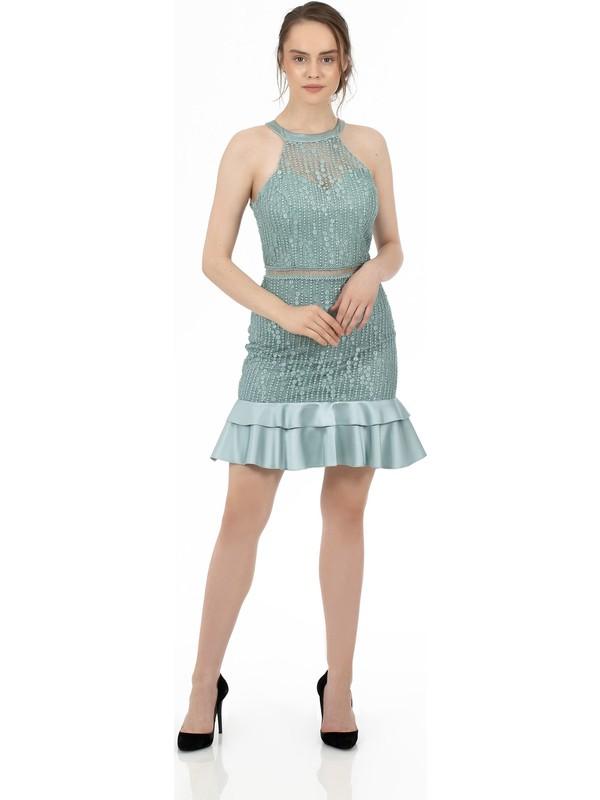 Carmen Çağla Eteği Saten Garnili Kısa Abiye Elbise