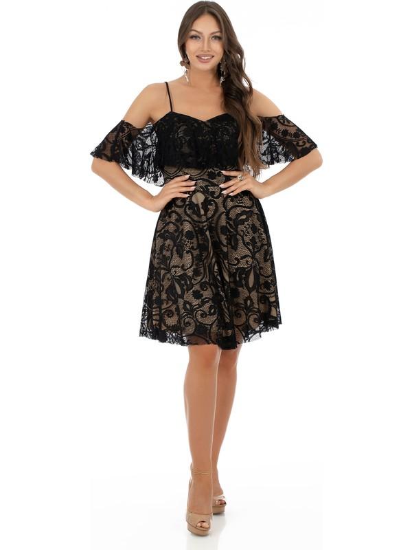 Carmen Siyah Dantelli Askılı Kısa Abiye Elbise
