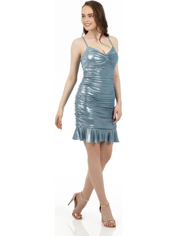 Carmen Mint Laklı Şifon Drapeli Kısa Abiye Elbise