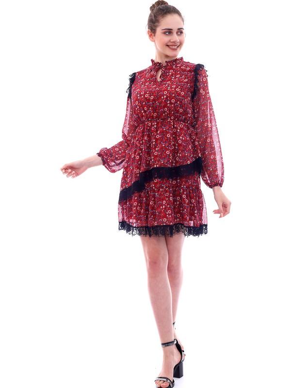 MCG Collection Mcg 575 Kadın Bordo Dantel Detaylı Şifon Elbise