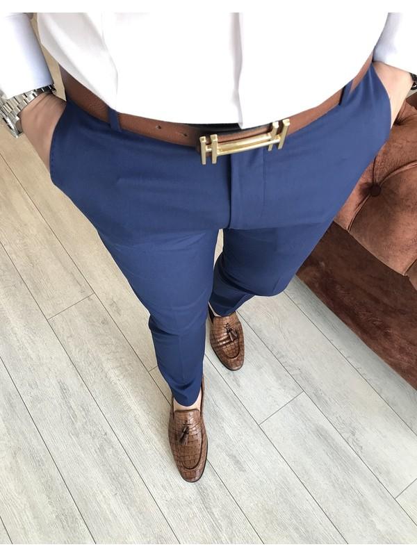 Terzi Adem Italyan Stil Slim Fit Erkek Kumaş Pantolon Açık Lacivert T4828