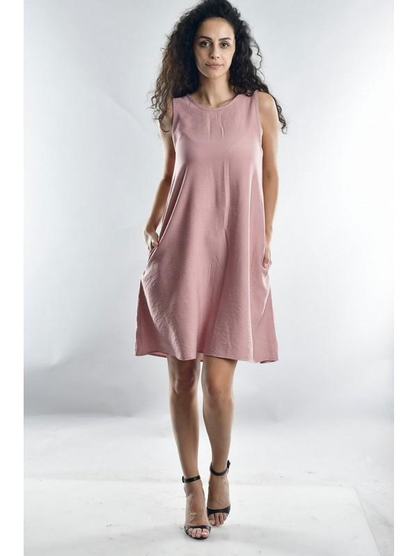 Cotton Mood 20071988 Bodrum Askılı Cepli Elbise Pudra