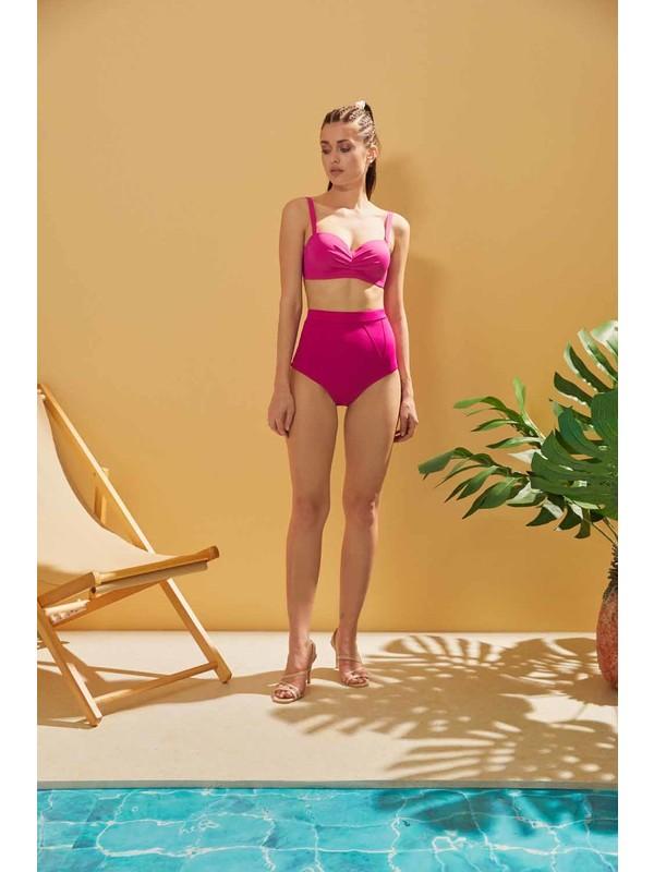 Sunlife Fuşya Yüksek Bel Drapeli Bikini