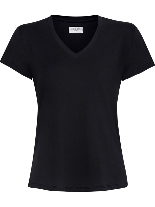 Demet Şener İstanbul Siyah V Yaka Siyah T-Shirt