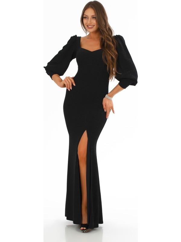Carmen Siyah Örme Kare Yaka Yırtmaçlı Abiye Elbise