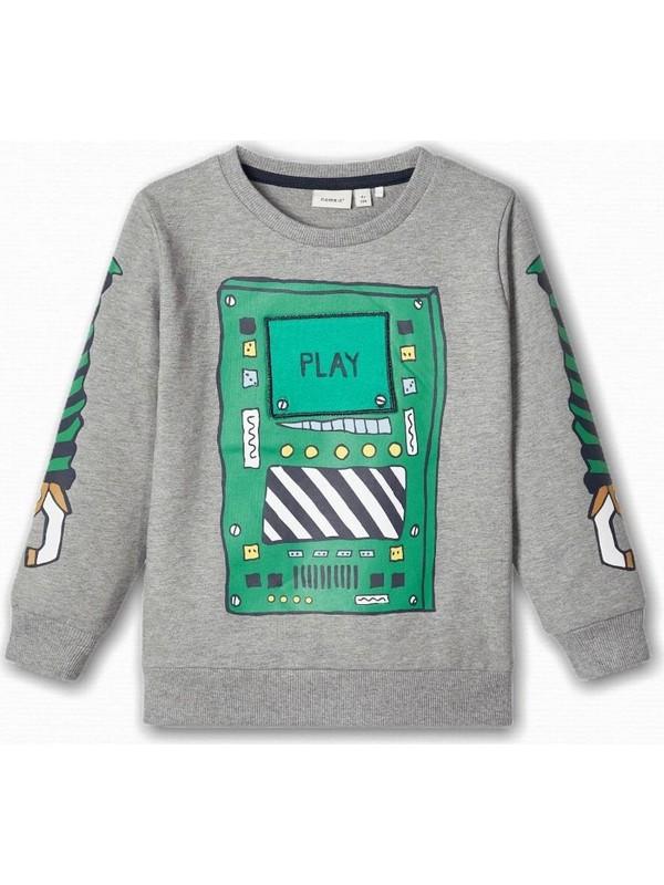 Name İt Erkek Çocuk Robot Baskılı Sweatshirt