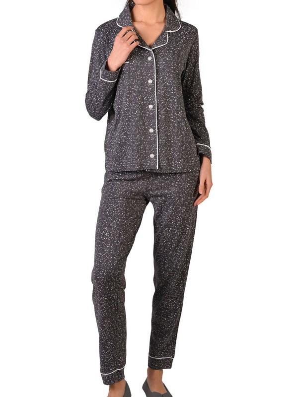 Nicoletta Gri Kadın Pijama Takımı Uzun Kollu Düğmeli Cepli Pamuk