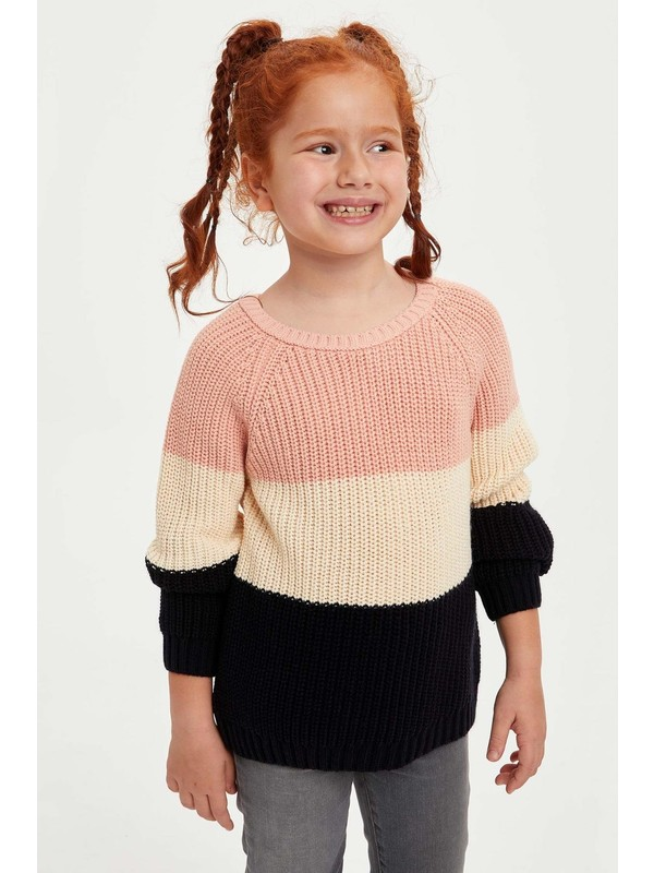DeFacto Kız Çocuk Renk Bloklu Triko Kazak N8563A620AU