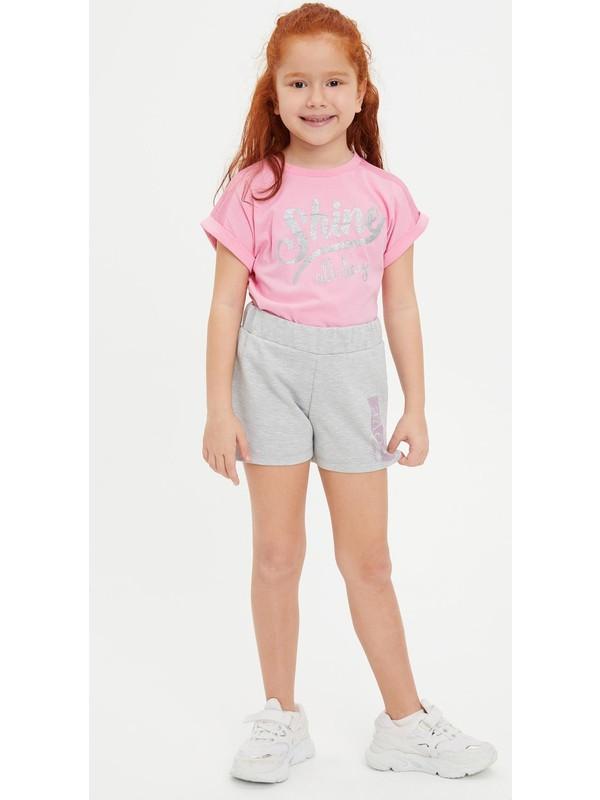 DeFacto Kız Çocuk Baskılı File Detaylı Tişört N9036A620SM