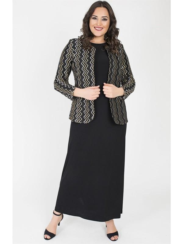 Ladies First 3153 Büyük Beden Siyah Elbiseli Takım