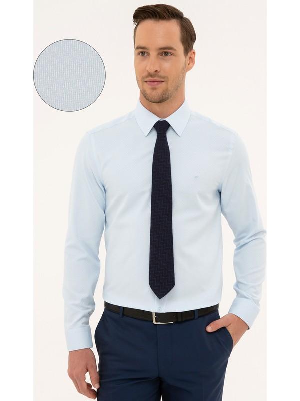Pierre Cardin Erkek Açık Mavi Slim Fit Armürlü Gömlek 50227373-VR003