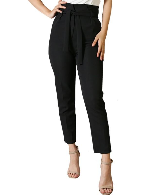 The Pantolon Yüksek Bel Kuşaklı Siyah Kadın Havuç Pantolon