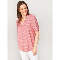 Faik Sönmez Kadın Nakışlı Ekose Gömlek 60379