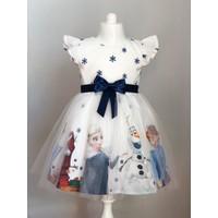 Pumpido Beyaz Renk Elsa Karakterli Kız Çocuk Elbisesi