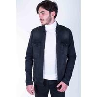Zenet Jeans Erkek Slimfit Açık Füme Fermuarlı Kot Ceket