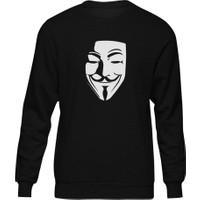Fandomya V For Vendetta Maskesi Siyah Sweatshirt