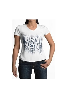 Tshigo Brooklyn Life V Yaka Kadın T-Shirt