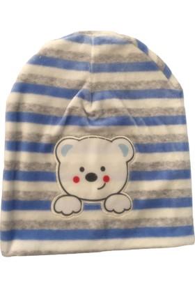 Akyüz Bebe Çizgili Ayıcıklı Erkek Bebek Polar Şapka - Mavi - 0-3 Ay