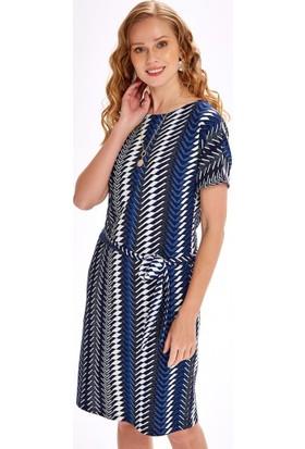 İkiler Beli Kuşaklı Kısa Kol Desenli Elbise 020-2538