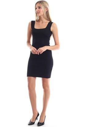 Cotton Mood 20346238 Triko Kare Yaka Kolsuz Elbise Siyah