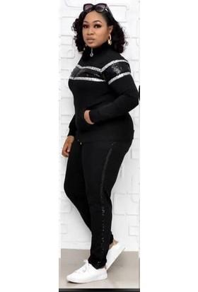 Tatu Kadın Fermuarlı Eşofman Takım Siyah 1495
