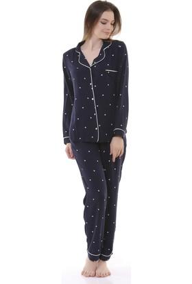 Besimma Lacivert Yıldız Kadın Pijama Takımı