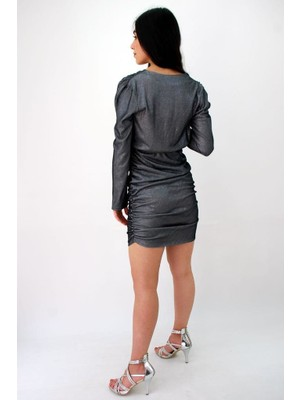 Elifim Moda Tasarım Drapeli Kruvaze Yaka Simli Mini Elbise