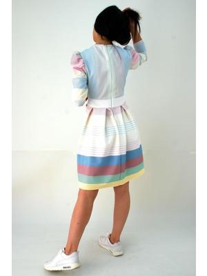 Elifim Moda Tasarım Kruvaze Yaka Renkli Çizgili Pileli Elbise