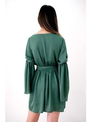 Elifim Moda Tasarım Kruvaze Yaka Ipek Kuşaklı Haki Mini Elbise