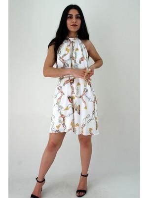 Elifim Moda Tasarım Krep Salaş Kelebek Desenli Kuşaklı Mini Elbise