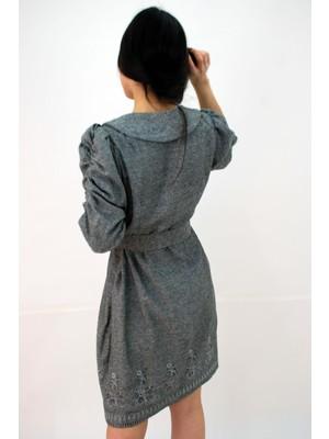 Elifim Moda Tasarım Bebe Yaka Nakışlı Kuşaklı Antrasit Simli Mini Elbise