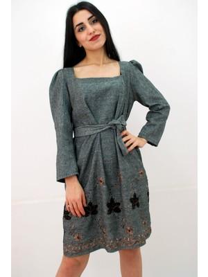 Elifim Moda Tasarım Kare Yaka Nakışlı Kuşaklı Antrasit Simli Mini Elbise