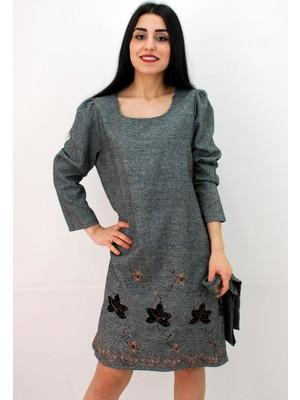 Elifim Moda Tasarım Yuvarlak Yaka Nakışlı Kuşaklı Antrasit Mini Elbise