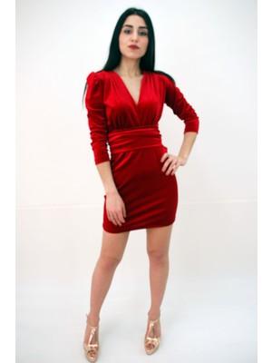 Elifim Moda Tasarım Kruvaze Yaka Kadife Kırmızı Mini Elbise