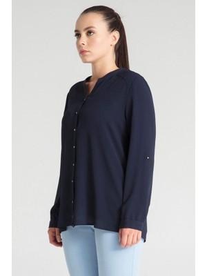 Pera Club Büyük Beden Lacivert Basic Gömlek