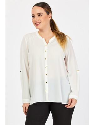Pera Club Büyük Beden Beyaz Gömlek