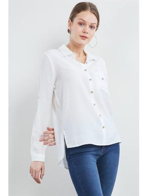 Pera Club Cep Detaylı Beyaz Gömlek