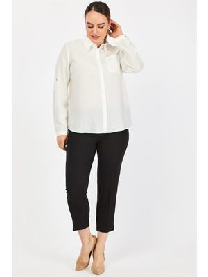 Pera Club Büyük Beden Cep Detaylı Beyaz Gömlek
